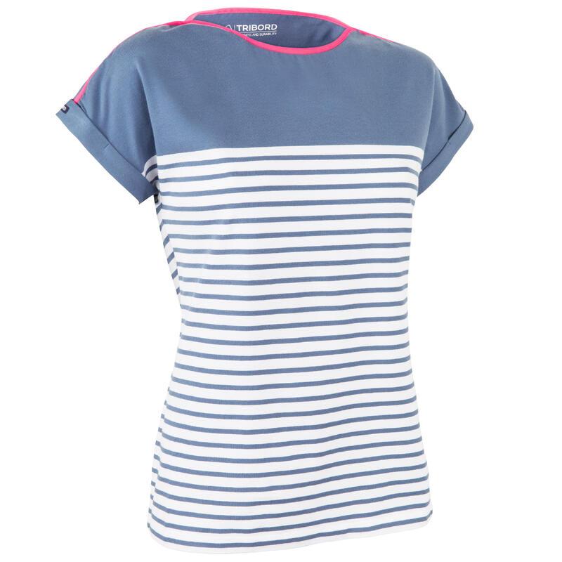 Streepjes T-shirt voor dames Sailing 100 korte mouwen blauw/grijs