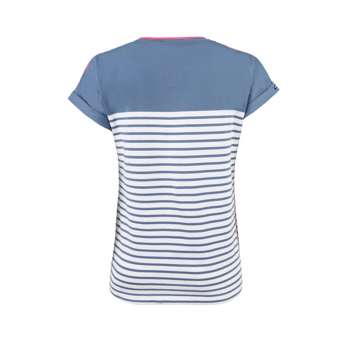 Zeilshirt korte mouwen Aventure 100 dames blauw grijs