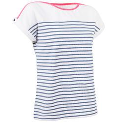 Dames-T-shirt met korte mouwen Sailing 100 wit en grijs