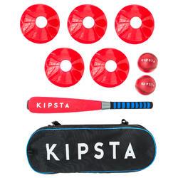 Set Béisbol Kipsta BA100 niños rojo y negro