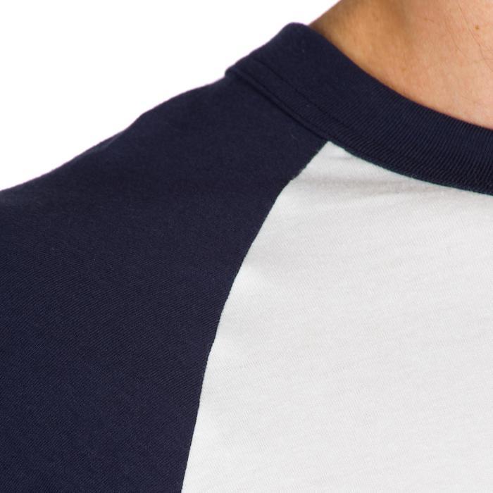 Baseballshirt 3/4 voor volwassenen BA 550 wit en blauw