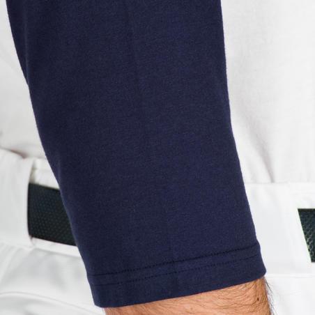 Playera de béisbol para adultos con mangas 3/4 BA 550 blanco y azul