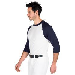 Camiseta Béisbol Kipsta 3/4 BA 550 Adulto Blanco Azul