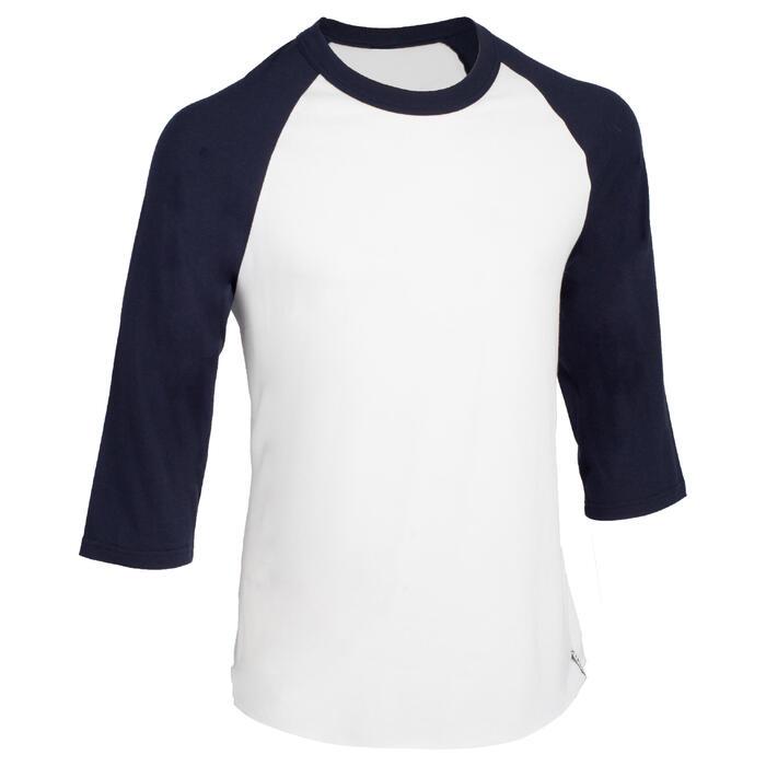 c45622940ed13 Camiseta de béisbol para adultos con mangas 3 4 BA 550 blanco y azul ...