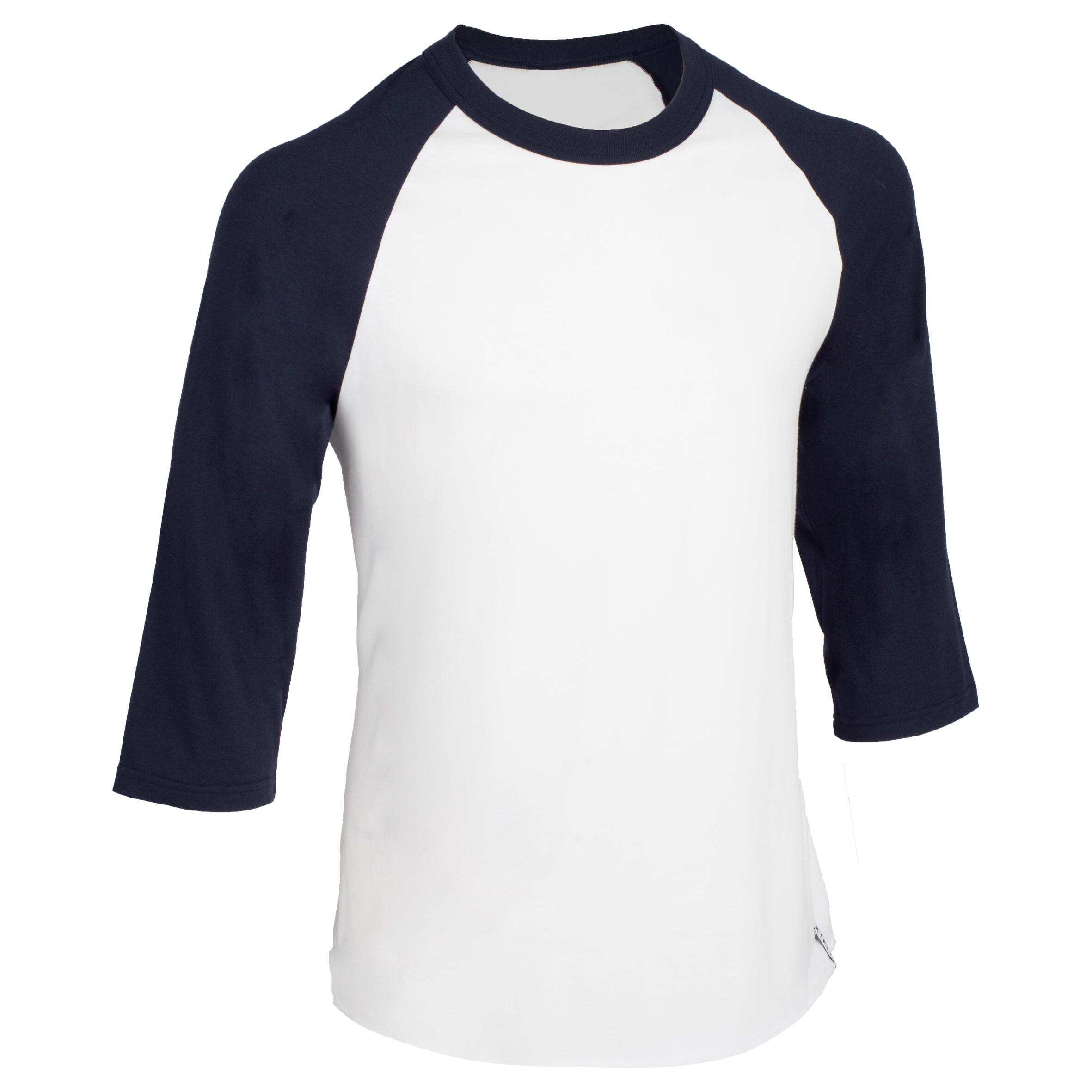 Kipsta Honkbalshirt 3/4 voor volwassenen BA 550 wit en blauw