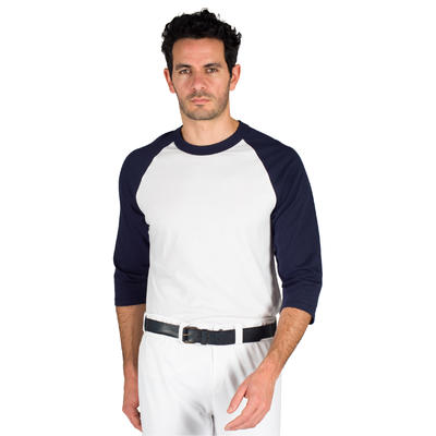Camiseta de béisbol para adultos con mangas 3/4 BA 550 blanco y azul