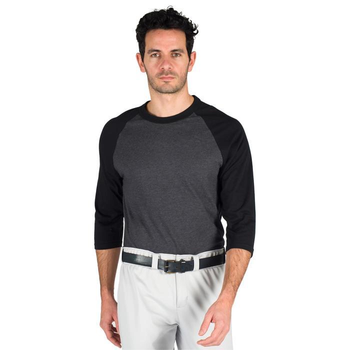 Tee Shirt De Baseball Manches 3/4 BA550 Adulte - Gris/Gris Foncé