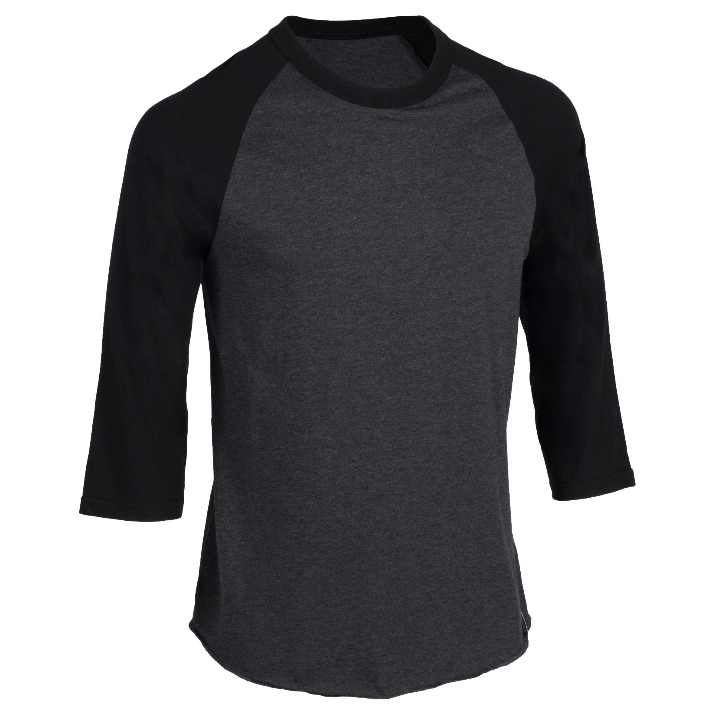 Kipsta Honkbalshirt 3/4 voor volwassenen BA 550 donkergrijs