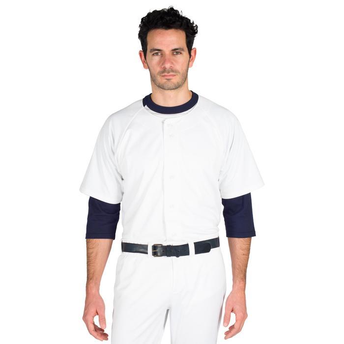 Camiseta Nanga Corta Béisbol Kipsta BA 550 Adulto Blanco