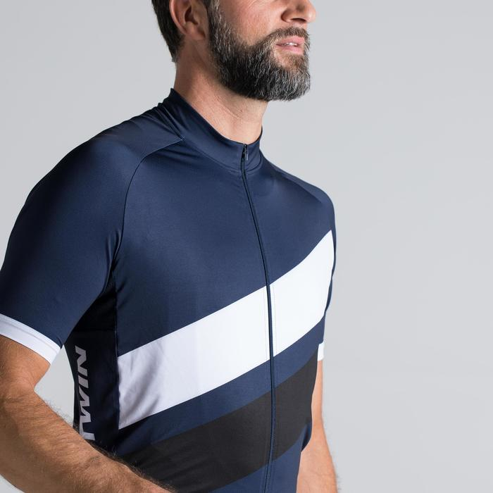 MAILLOT VELO ROUTE MANCHES COURTES HOMME ROADCYCLING 500 BLEU MARINE BLANC