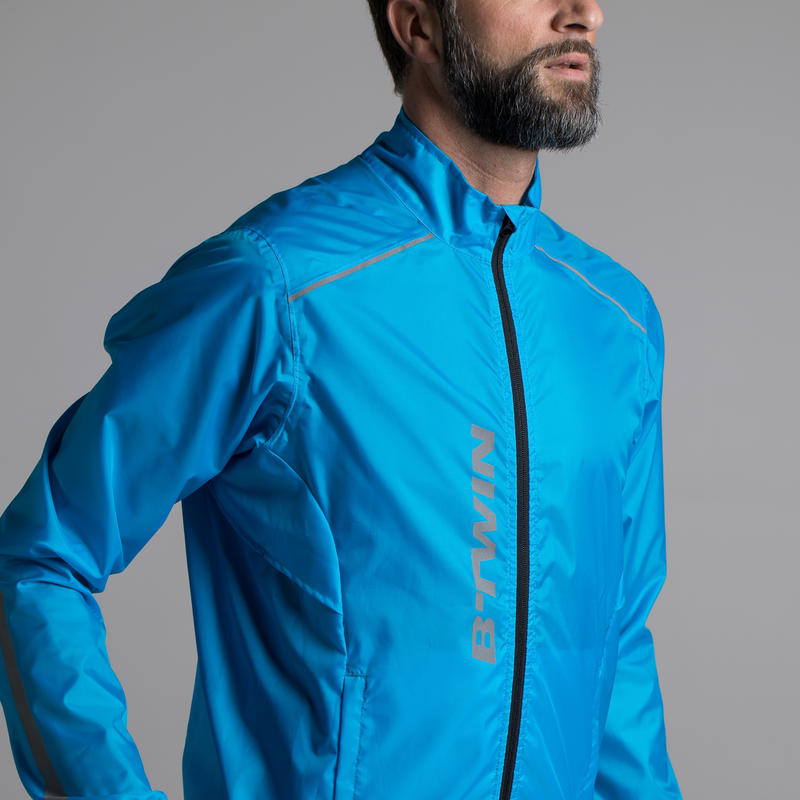 Men's Road Cycling Cycle Touring Showerproof Jacket 100 - Blue