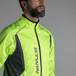 500 Road Cycling and Bike Touring Showerproof Jacket - Neon Yellow