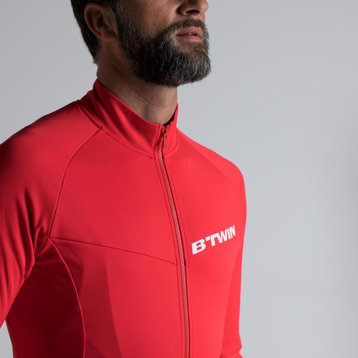 Langarm-Fahrradtrikot 500 Rennrad Herren rot