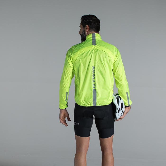 Ultralicht heren windjack met lange mouwen wielrennen fluogeel