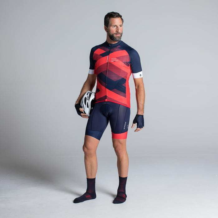 MAILLOT VELO ROUTE MANCHES COURTES HOMME ROADCYCLING 900  XRED NAVY - 1319782