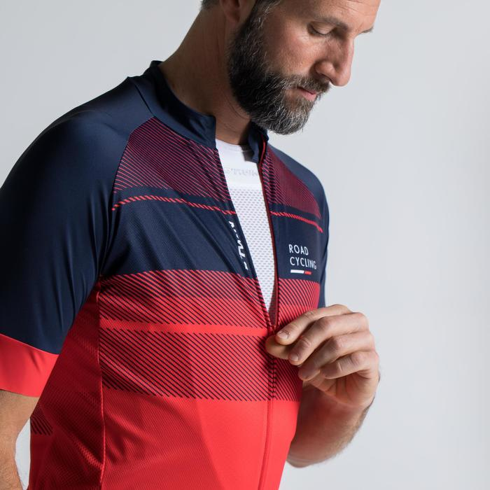 MAILLOT VELO ROUTE MANCHES COURTES HOMME ROADCYCLING 900  XRED NAVY - 1319804