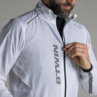 500 Ultralight Long-Sleeved Road Cycling Windproof Jacket – White