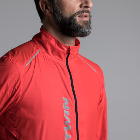 500 Ultralight Long-Sleeved Windproof Road Cycling Jacket - Red