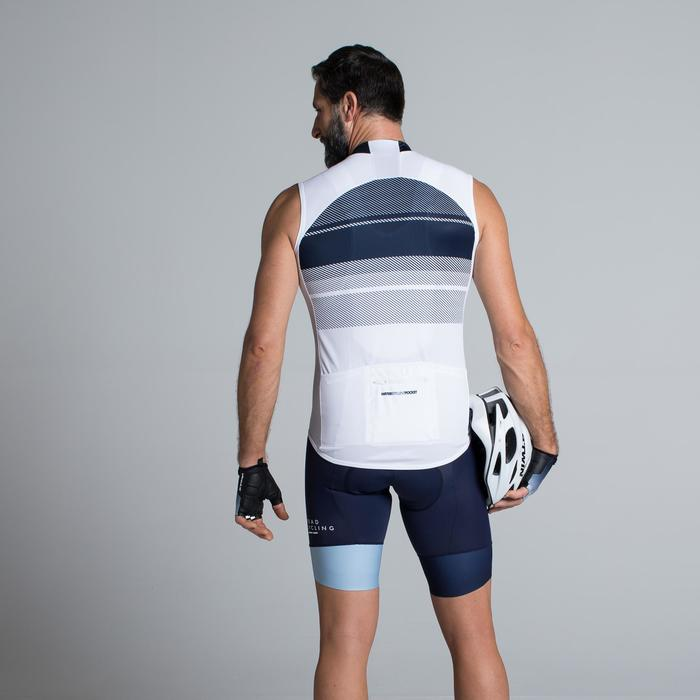 MAILLOT SIN MANGAS CICLISMO HOMBRE ROADC 900 BLANCO AZUL MARINO