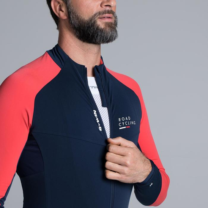 Fietsshirt met lange mouwen voor heren Roadcycling 900 marineblauw / rood