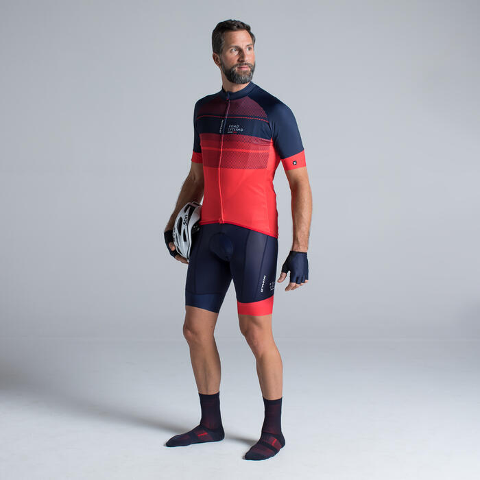 MAILLOT VELO ROUTE MANCHES COURTES HOMME ROADCYCLING 900  XRED NAVY - 1319845