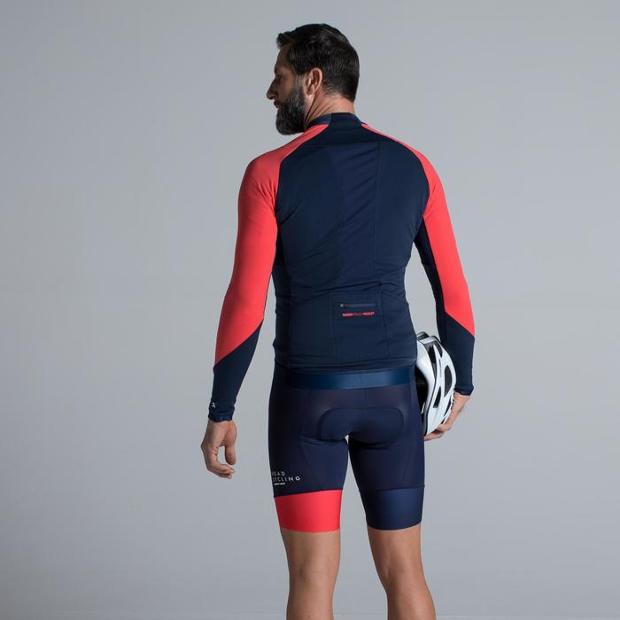 MAILLOT VELO ROUTE MANCHES LONGUES HOMME CYCLOTOURISTE 900 BLEU MARINE / ROUGE