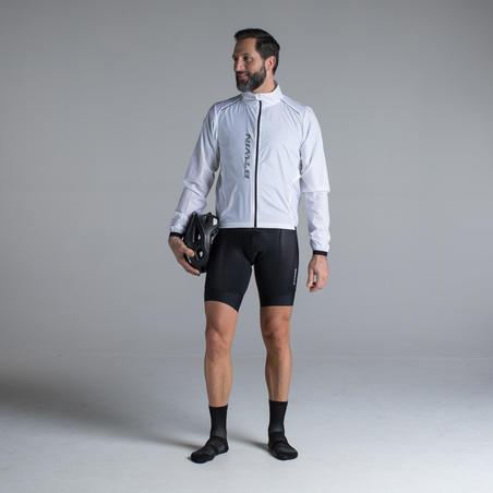 """Lengva vėjui nelaidi plento dviratininko striukė ilgomis rankovėmis """"500"""", balta"""