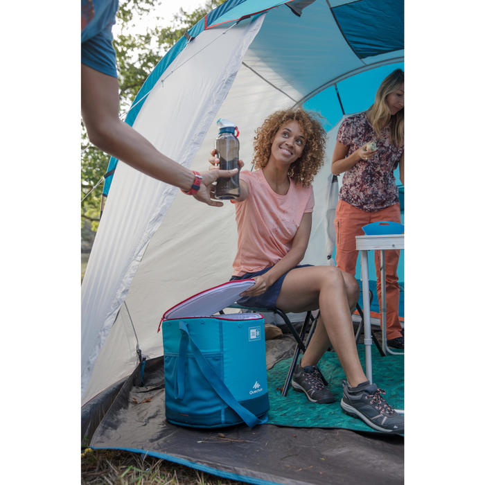 Koeltas voor kamperen en wildkamperen in de natuur compact 20 liter blauw
