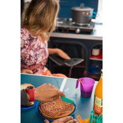 Dreiteiliges Besteckset (Messer, Gabel, Löffel) Kunststoff Camping blau