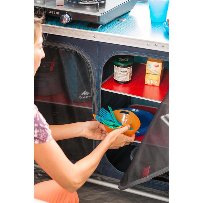 Set 3 couverts (couteau, fourchette, cuillère) camp du randonneur plastique bleu