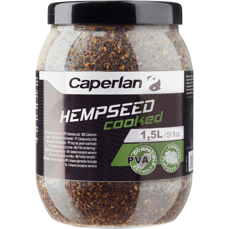 CARP BAITS, BAITING EQUIPEMENT Fishing - COOKED HEMPSEED 1.5L NATURAL CAPERLAN - Carp Fishing