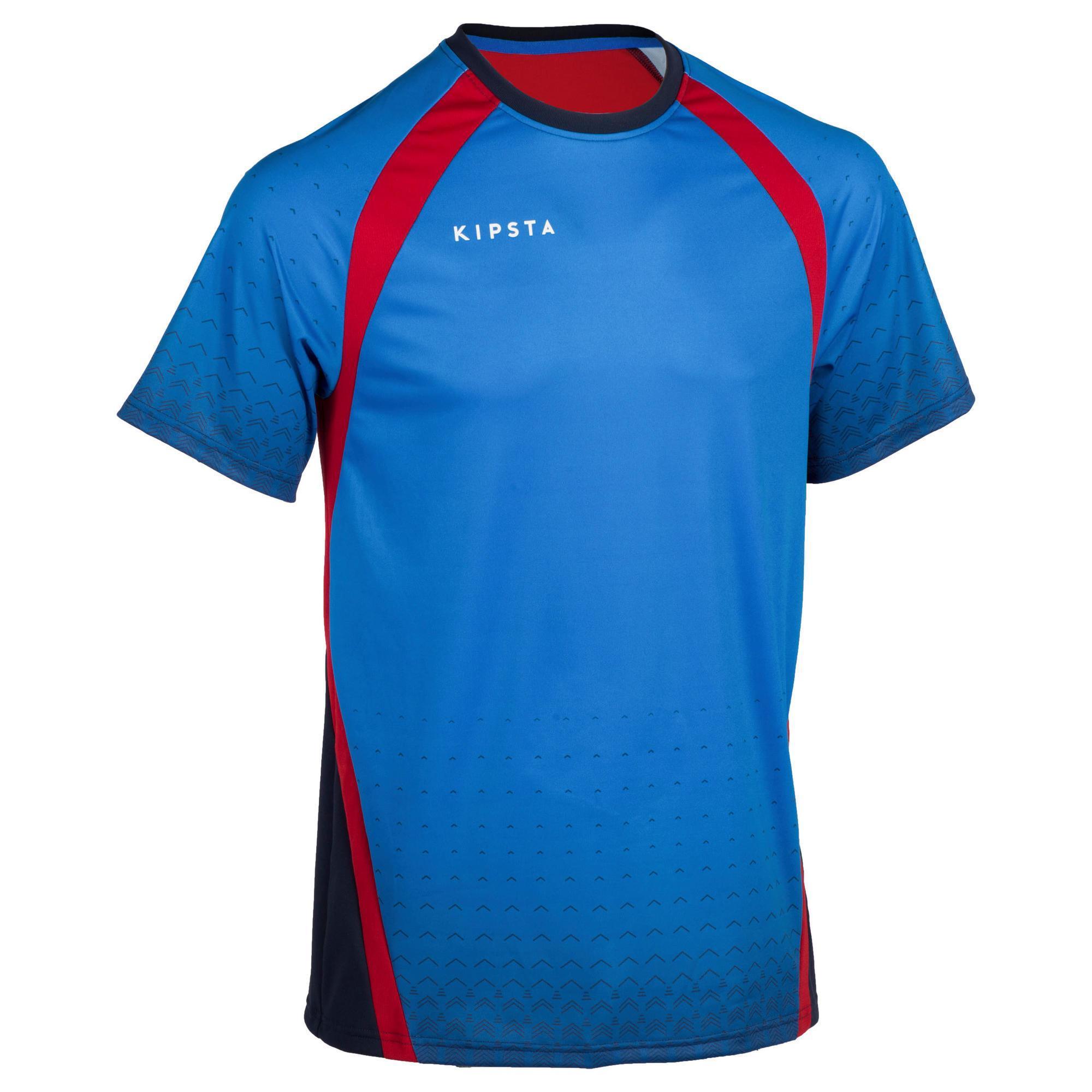 Kipsta Volleybalshirt V500 voor heren blauw/rood
