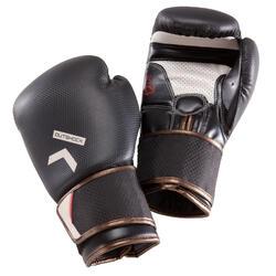 Bokshandschoenen 500 carbon, geschikt voor halfgevorderden