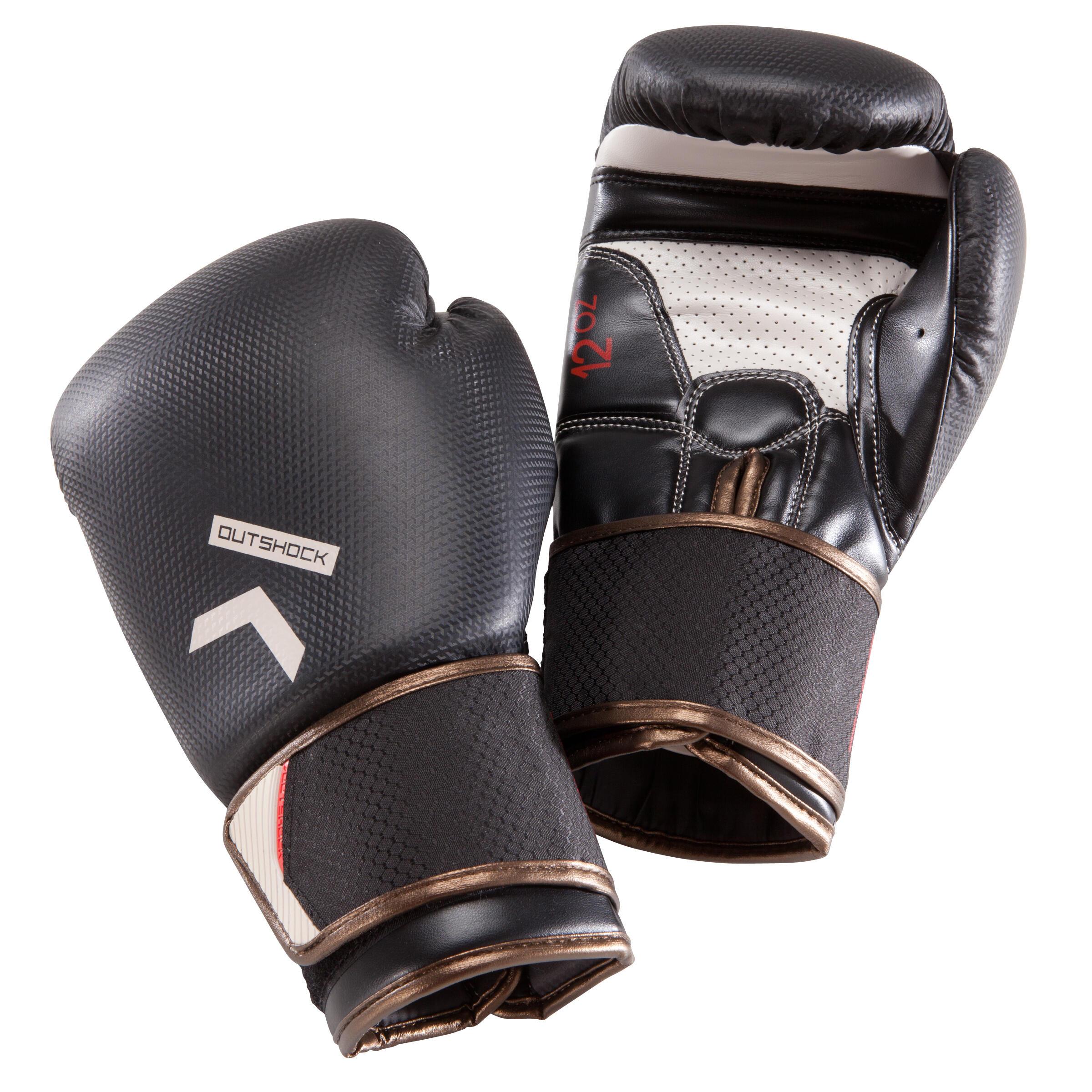 Outshock Bokshandschoenen 500 zwart voor halfgevorderde boksers heren en dames