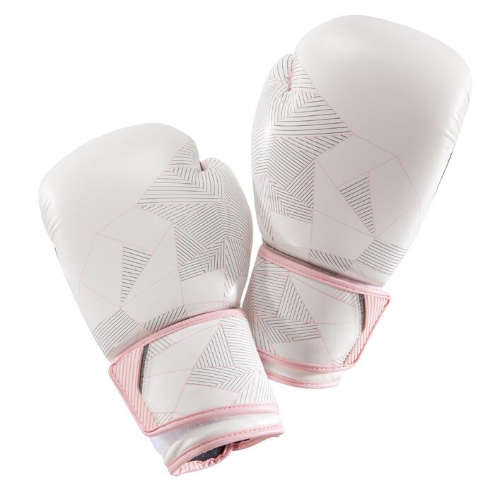 Boxhandschuhe 300 Erwachsene weiß/rosa