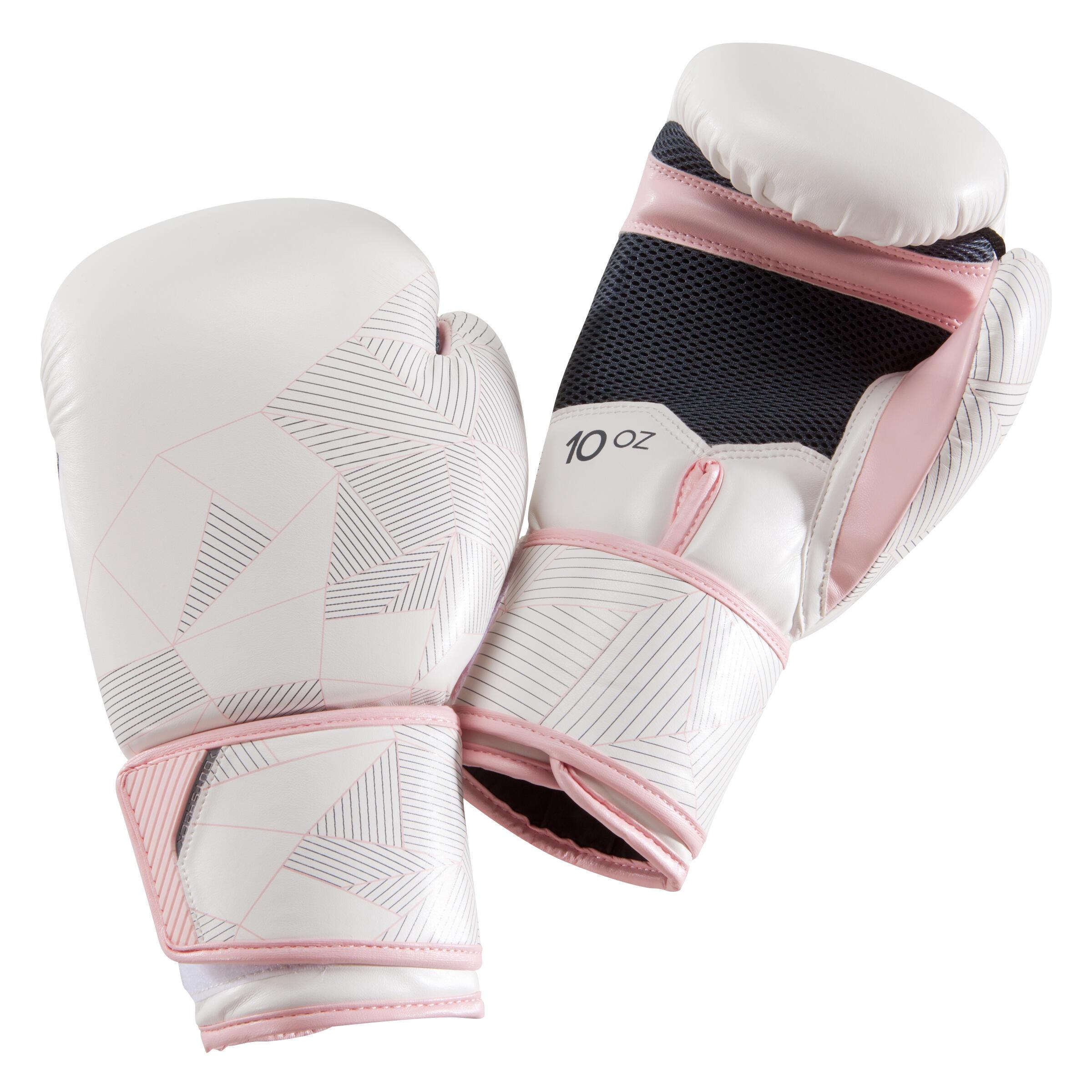 Boxhandschuhe 300 Erwachsene weiß/rosa | Accessoires > Handschuhe | Weiß - Rosa | Outshock