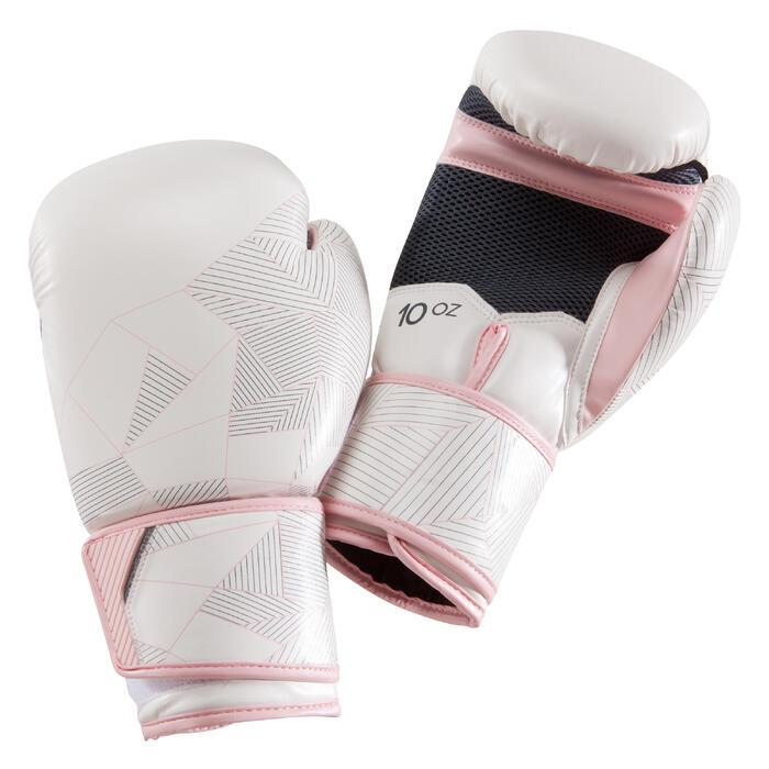 gants de boxe 300 blanc/rose , gants d'entraînement débutant homme ou femme