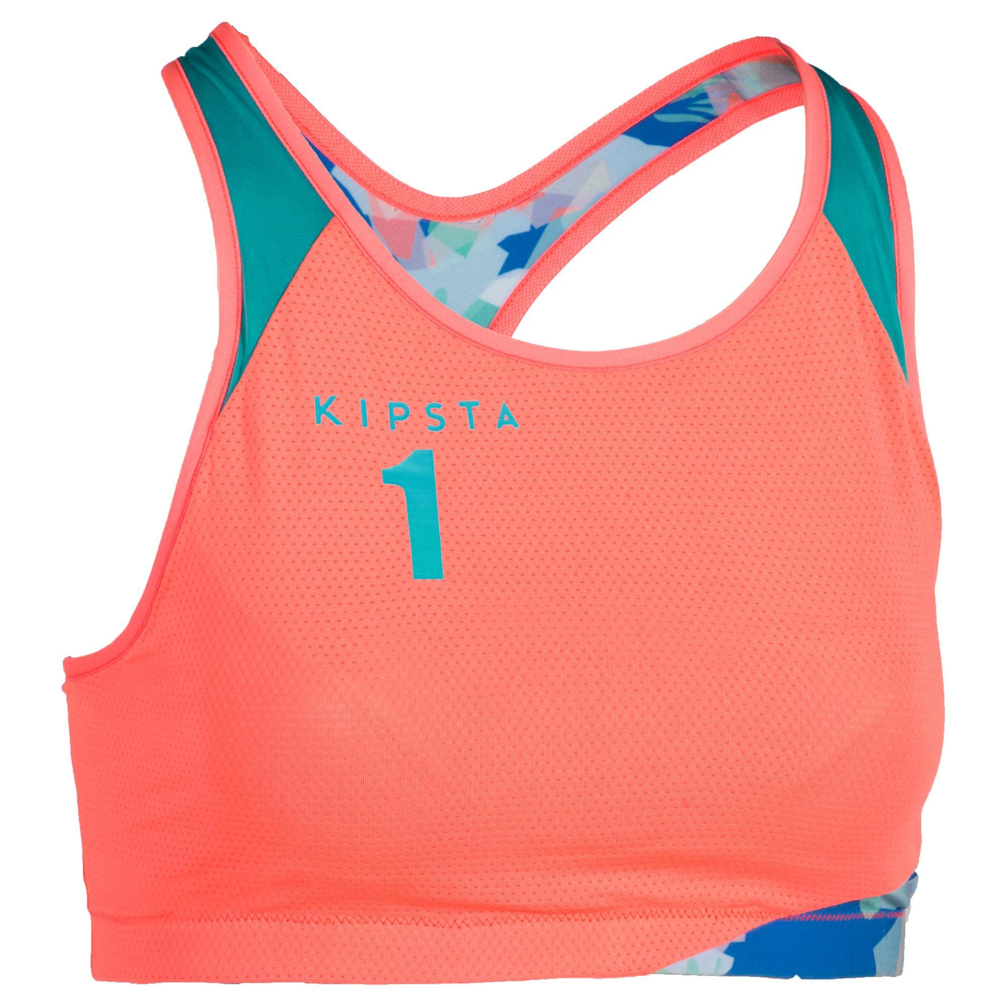 Beachvolleyball-Bustier BV500 Wende-Top orange | Sportbekleidung > Sporttops | Rot - Rosa | Copaya