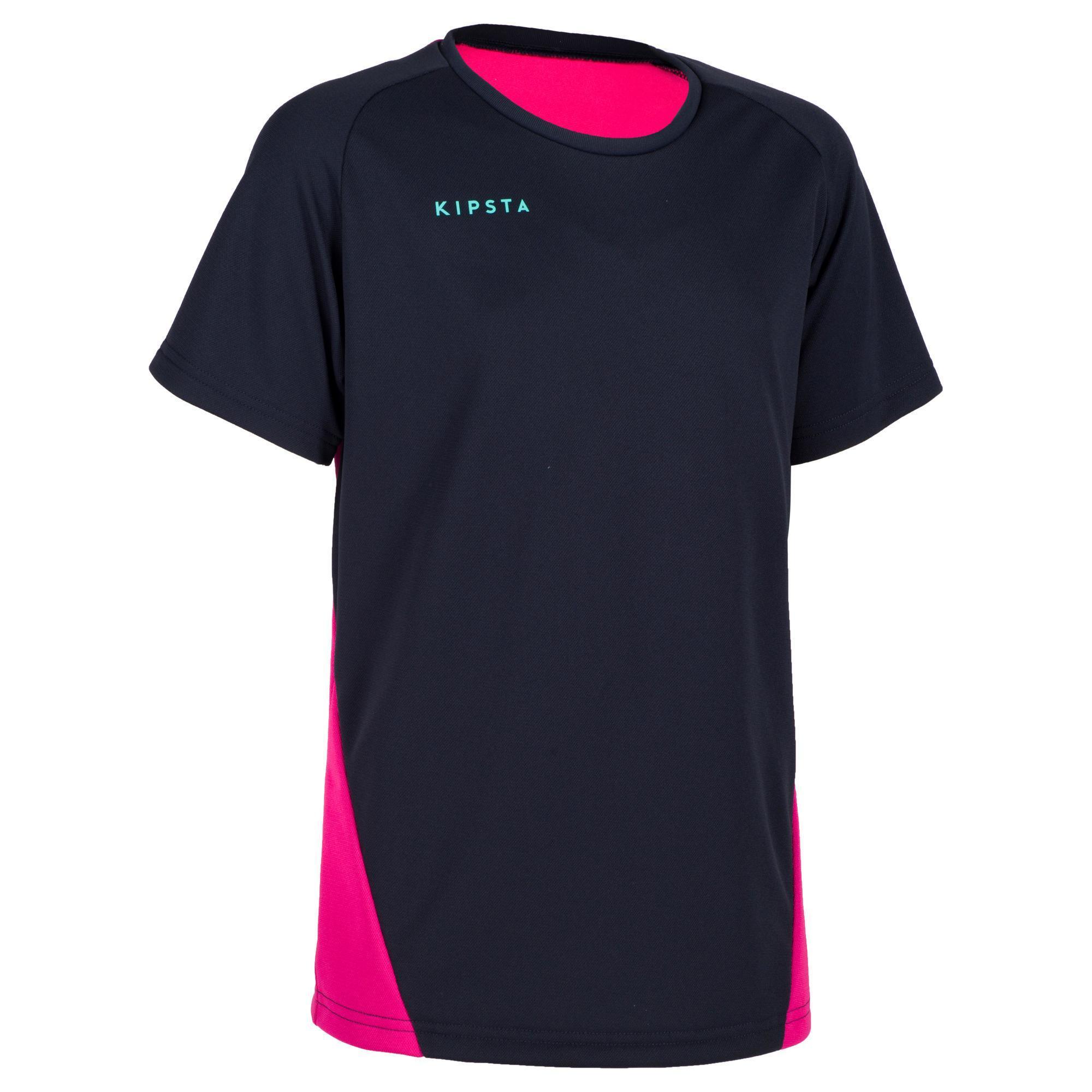 Kipsta Volleybalshirt meisjes V100 blauw/roze