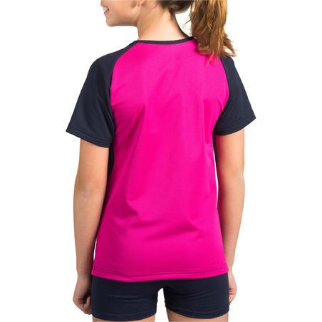 Camiseta de voleibol para niña V100 Azul y Rosa