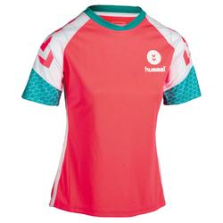 Camiseta de balonmano mujer rosa / blanco / azul turquesa