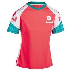 Camiseta de balonmano Hummel mujer rosa blanco azul turquesa