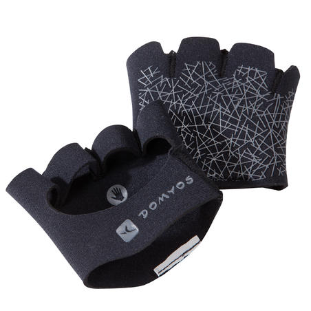 Guantes Gimnasio CrossFitness adulto Domyos Grip Pad Training negro gris