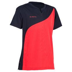 Camiseta Manga Corta Hockey Hierba Kipsta FHST100 Niña Azul Rosa