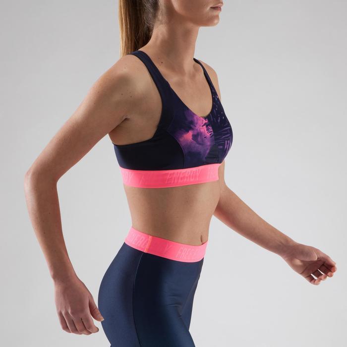 Brassière fitness cardio femme à imprimés tropicaux roses 500 Domyos - 1321518