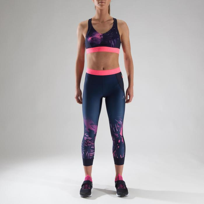Brassière fitness cardio femme à imprimés tropicaux roses 500 Domyos - 1321540