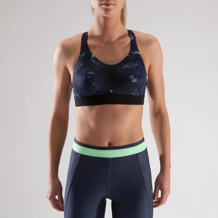 Brassière fitness cardio femme imprimés géométriques noirs 500 Domyos - 1321543