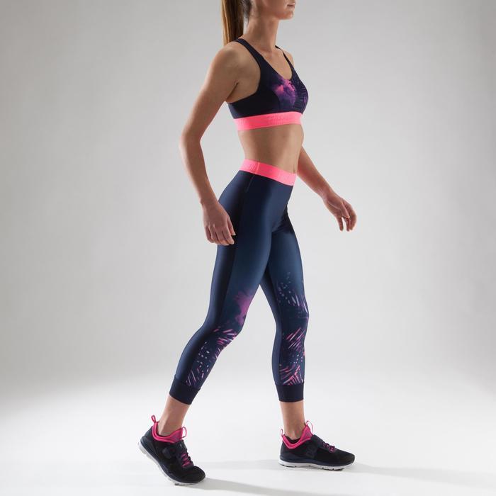 Brassière fitness cardio femme à imprimés tropicaux roses 500 Domyos - 1321581