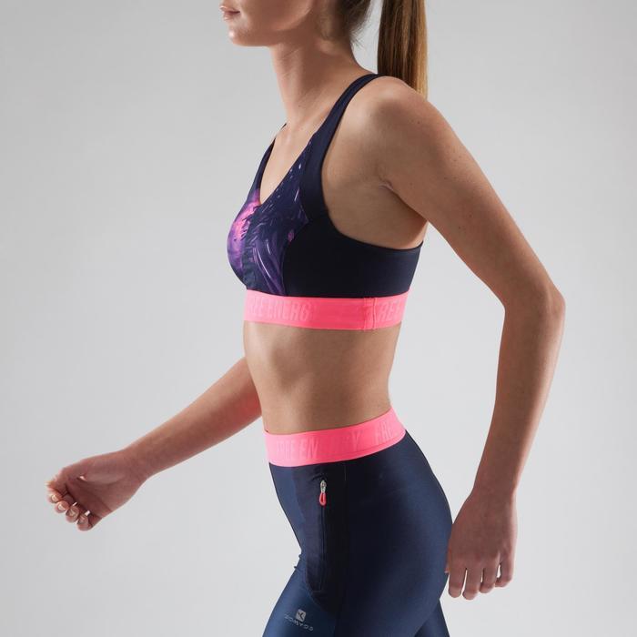Brassière fitness cardio femme à imprimés tropicaux roses 500 Domyos - 1321617