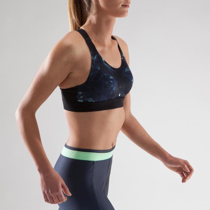 Brassière fitness cardio femme imprimés géométriques noirs 500 Domyos - 1321621